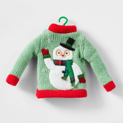 Knit Ugly Sweater Christmas Tree Ornament Light Green with Red Trim - Wondershop™