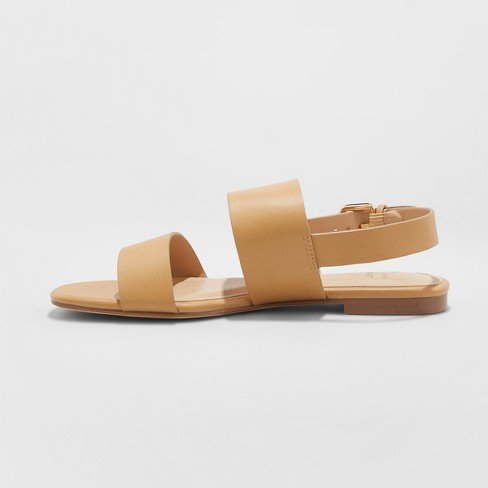 dd11548743d Women s Sabrina Wide Width Two Band Buckle Slide Sandals - A New Day™ Tan 5    Target