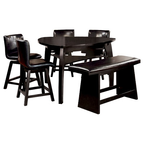 iohomes 6pc triangular open shelf counter dining table set wood black target. Black Bedroom Furniture Sets. Home Design Ideas