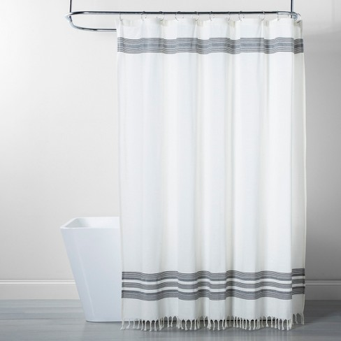 Stripe Fringe Shower Curtain White Gray Threshold