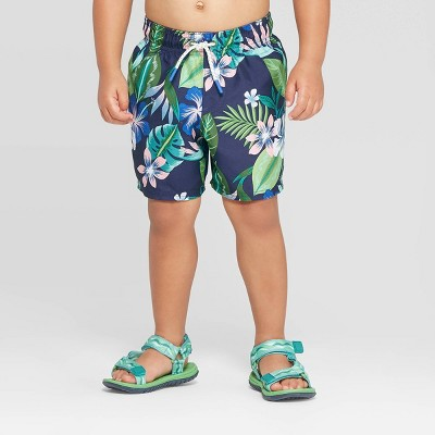 Toddler Boys' Tropical Swim Trunks - Yellow 2T