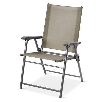 sling folding patio chair gray threshold target rh target com
