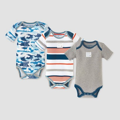 Burt's Bees Baby® Baby Boys' 3pk Distressed Bee Camo Bodysuit Set - Blue 0-3M