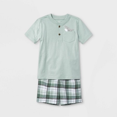 Toddler Boys' 2pc Shark Pocket Short Sleeve T-Shirt and Shorts Set - Just One You® made by carter's Green