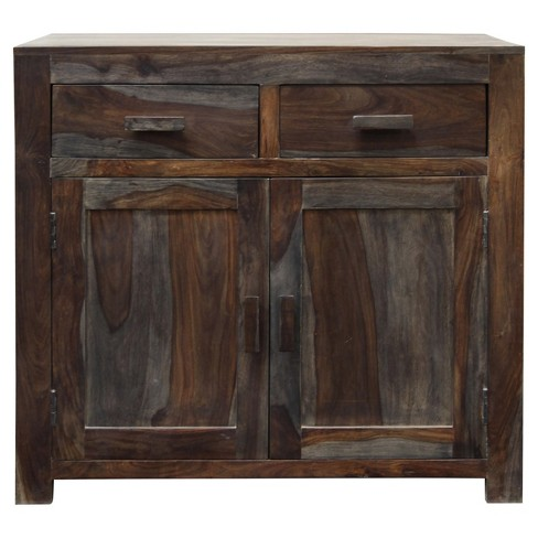 Solid Sheesham Wood Two Door Storage Cabinet With Draweretal Hardware Walnut Stylecraft
