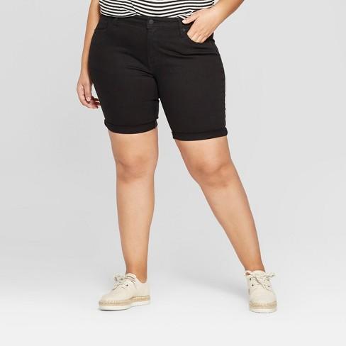 7d565873f7328 Women s Plus Size Roll Cuff Bermuda Jean Shorts - Universal Thread™ Black