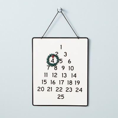 Metal Advent Calendar with Wreath Magnet Black/Cream - Hearth & Hand™ with Magnolia