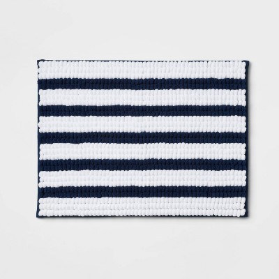 "17""x24"" Chunky Chenille Memory Foam Bath Rug Navy Stripe - Room Essentials™"