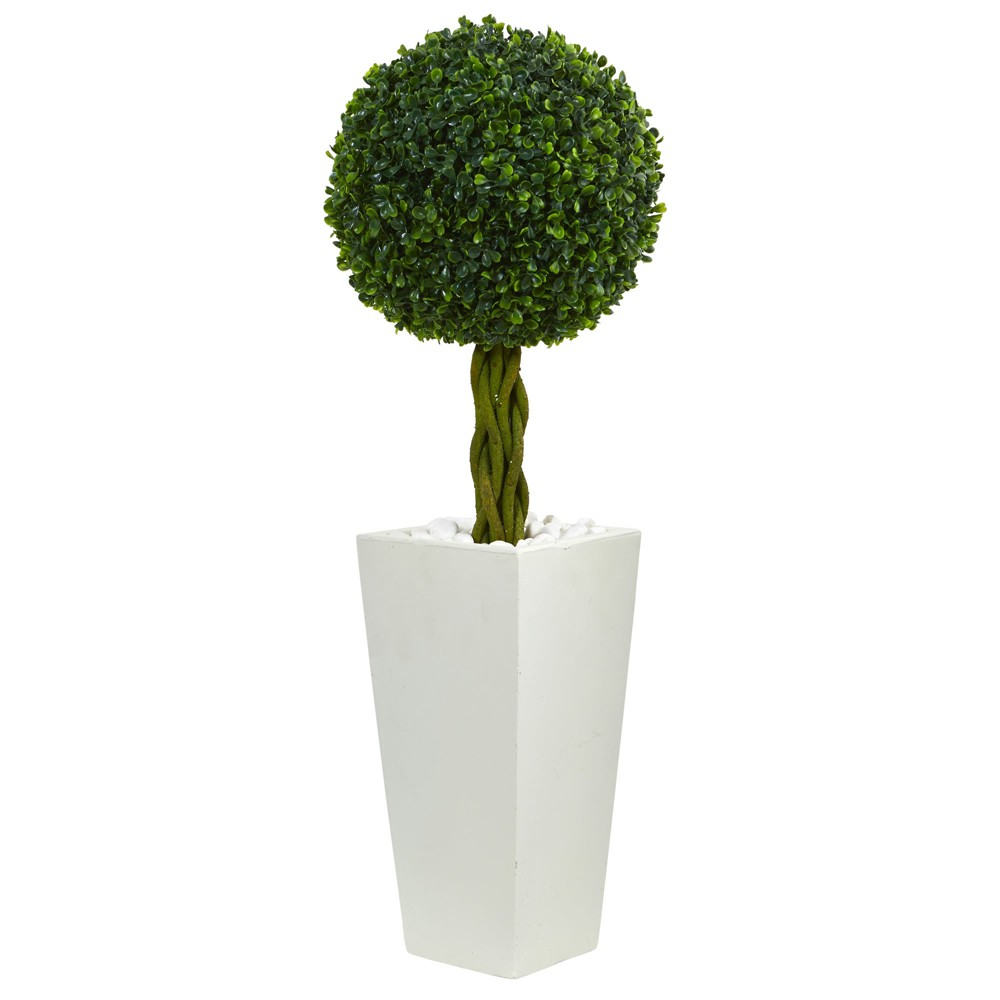 2.5ft Boxwood Ball Topiary Artificial Tree In White Tower Planter - Nearly Natural, Green