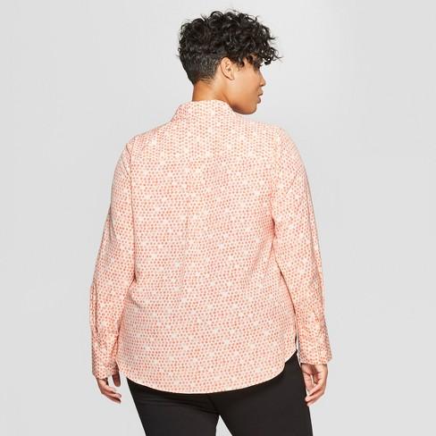 e4720d3f7 Women's Plus Size Polka Dot Long Sleeve Collared Button-Down Blouse -  Prologue™ Pink 1X : Target