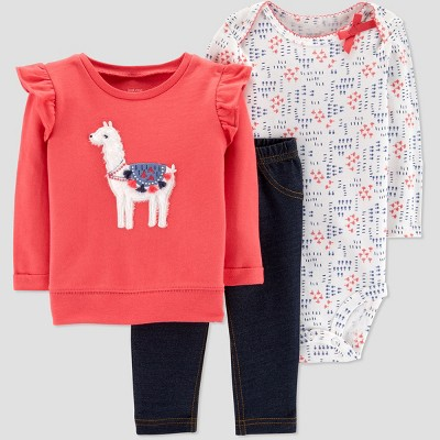 Baby Girls' Llama 3pc Set - Just One You® made by carter's Pink Newborn