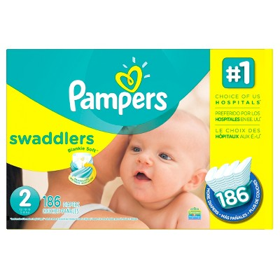 Pampers Swaddlers Diapers Economy Plus Pack Size 2 (186 ct)
