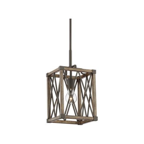 Wood Cube Cage Mini Pendant Light