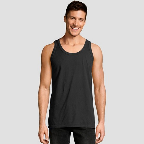 Hanes Men S Big Tall 1901 Garment Dyed Tank Top Black 3xl Target