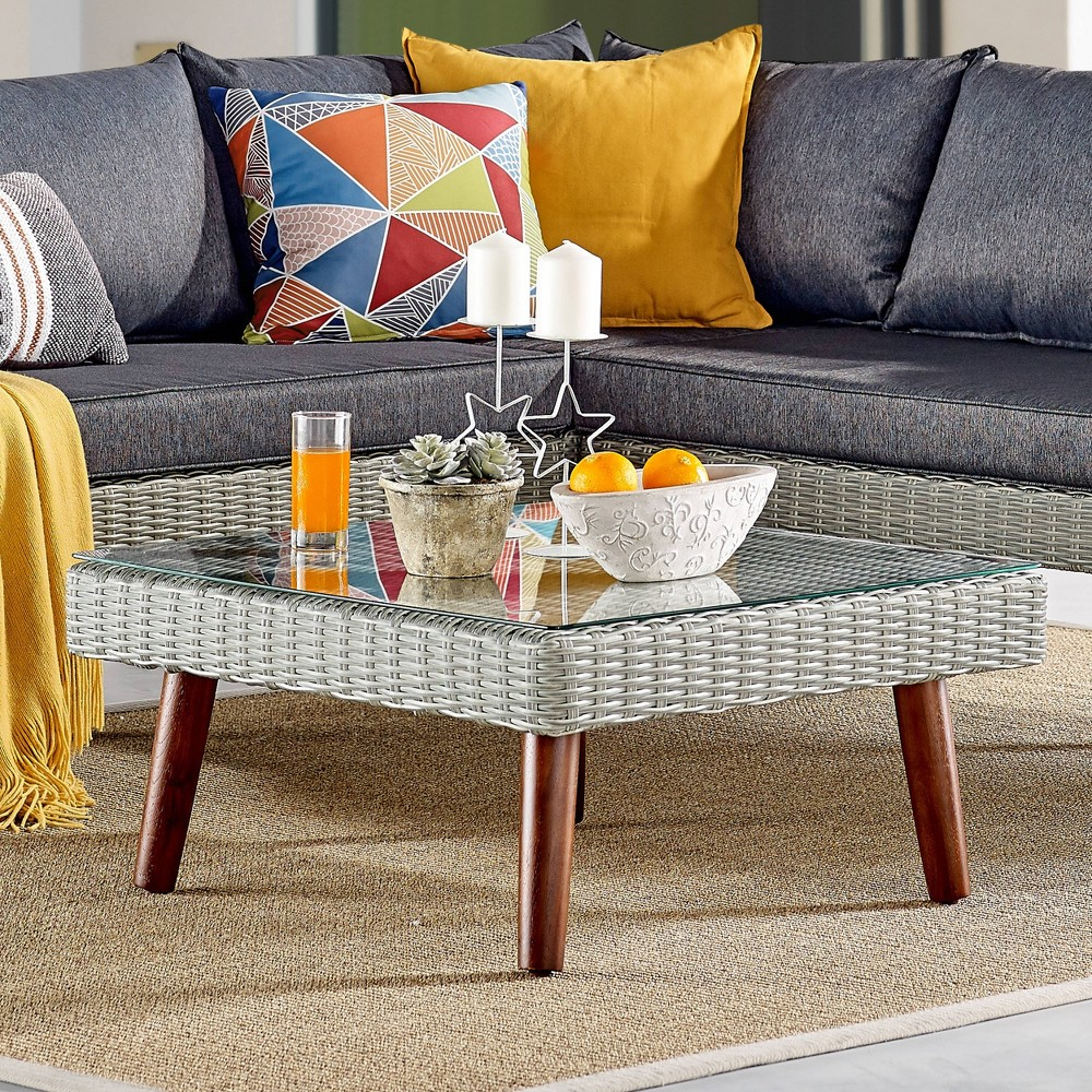 """Image of """"29"""""""" All-Weather Wicker Albany Outdoor Square Coffee Table Brown - Alaterre Furniture"""""""
