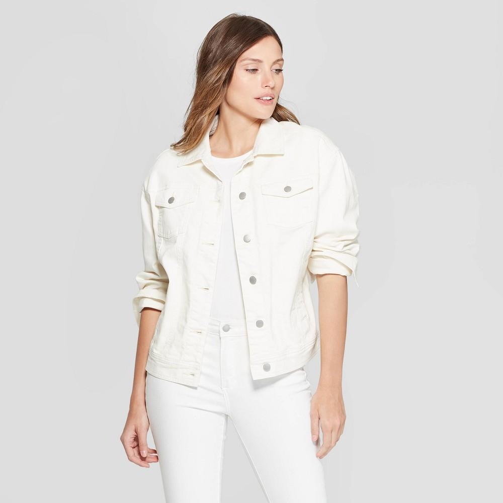 Women's Long Sleeve Ecru Trucker Jeans Jacket - Universal Thread White M