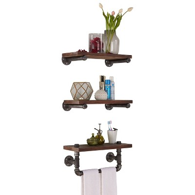 """Conrad Industrial Pine Wood Floating Wall Shelf 20"""" in Gray and Walnut Finish - Armen Living"""