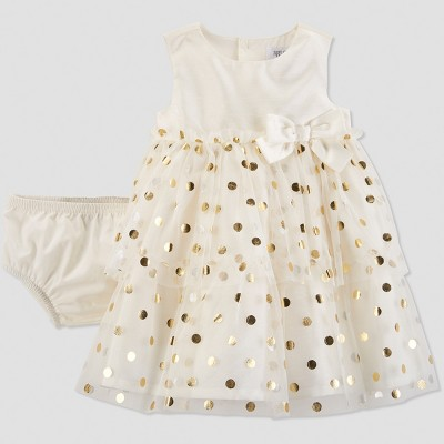 Baby Girls' Dot Holiday Dressy Dress - Just One You® made by carter's Gold 3M
