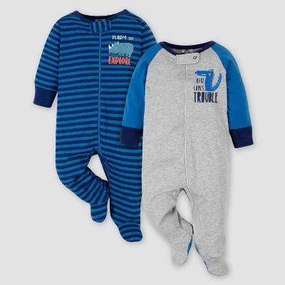 Gerber Baby Boys' 2pk Rhino Sleep N' Play - Blue Newborn