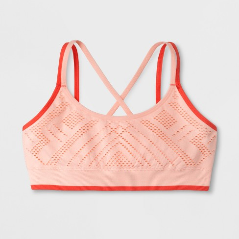 Girls' Seamless Crochet Bra - Cat & Jack™ Coral - image 1 of 1
