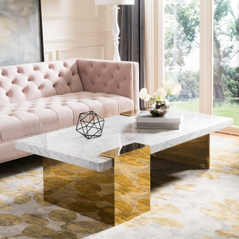 Mycha Marble Coffee Table White Gold Safavieh Target