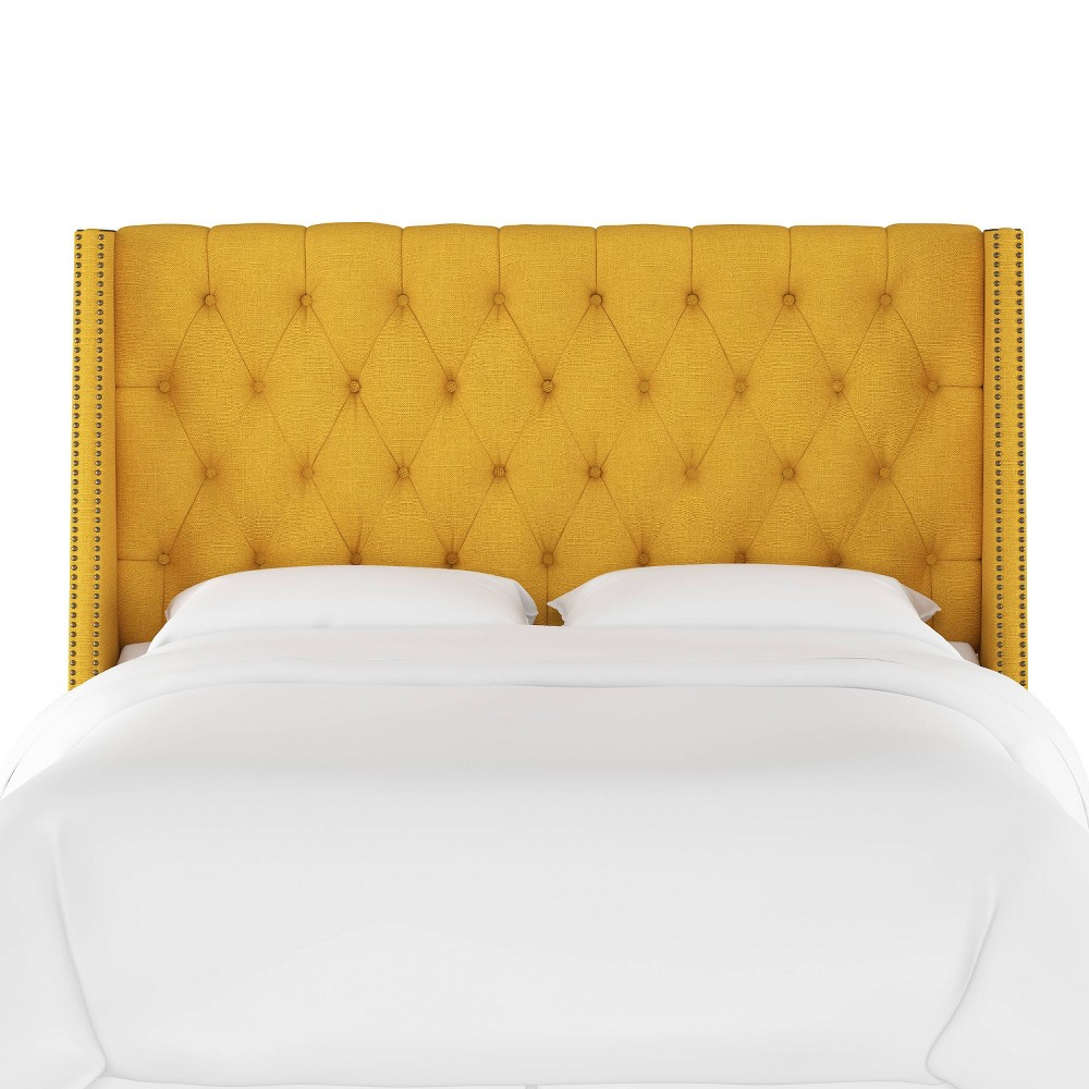 Twin Diamond Tufted Wingback Headboard Yellow Linen with Brass Nail Buttons - Skyline Furniture