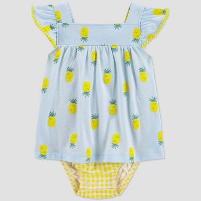Baby Girls' Pineapple Sunsuit Romper - Just One You® made by carter's Blue