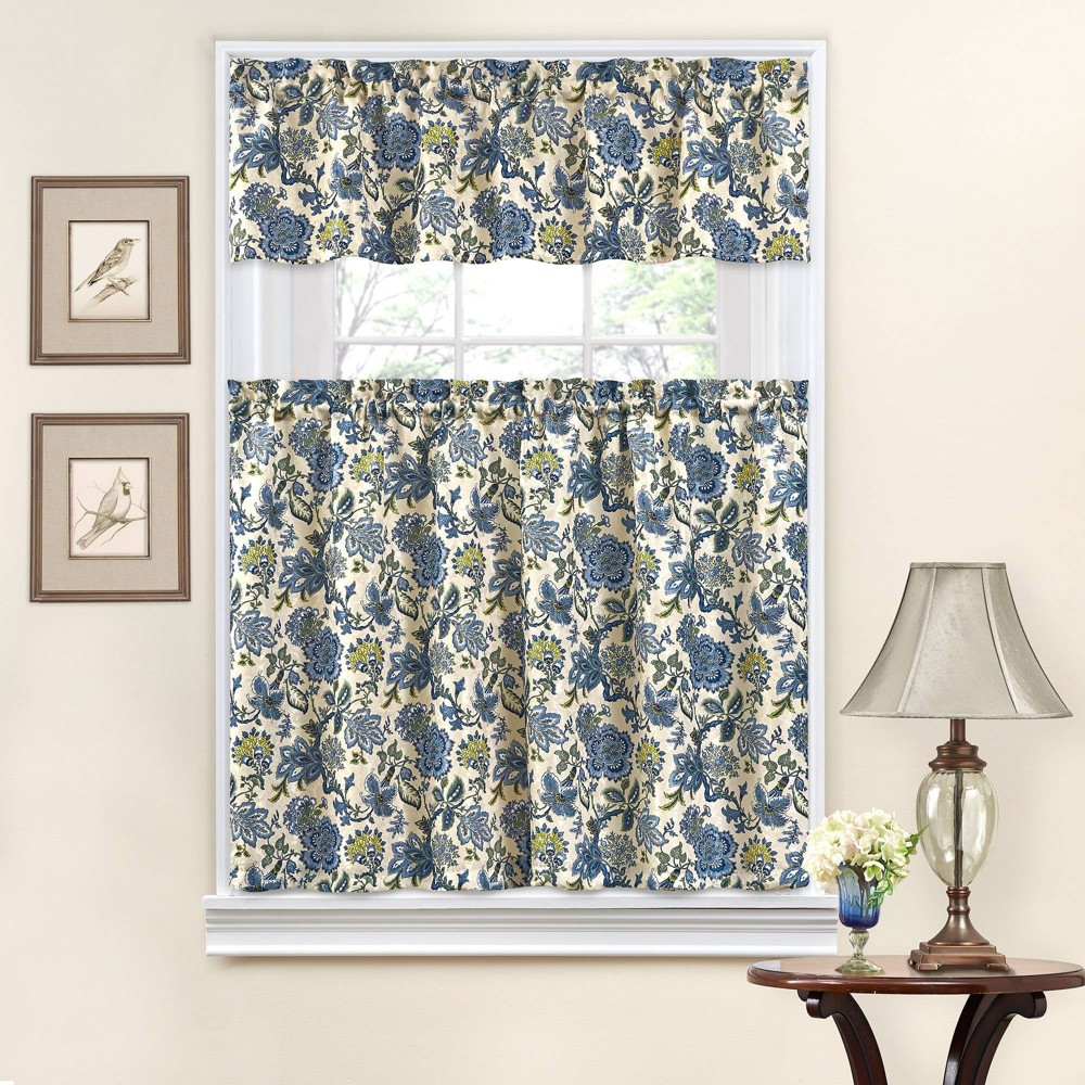 "Image of ""36""""x52"""" Floral Curtain Tiers Blue - Traditions by Waverly"""