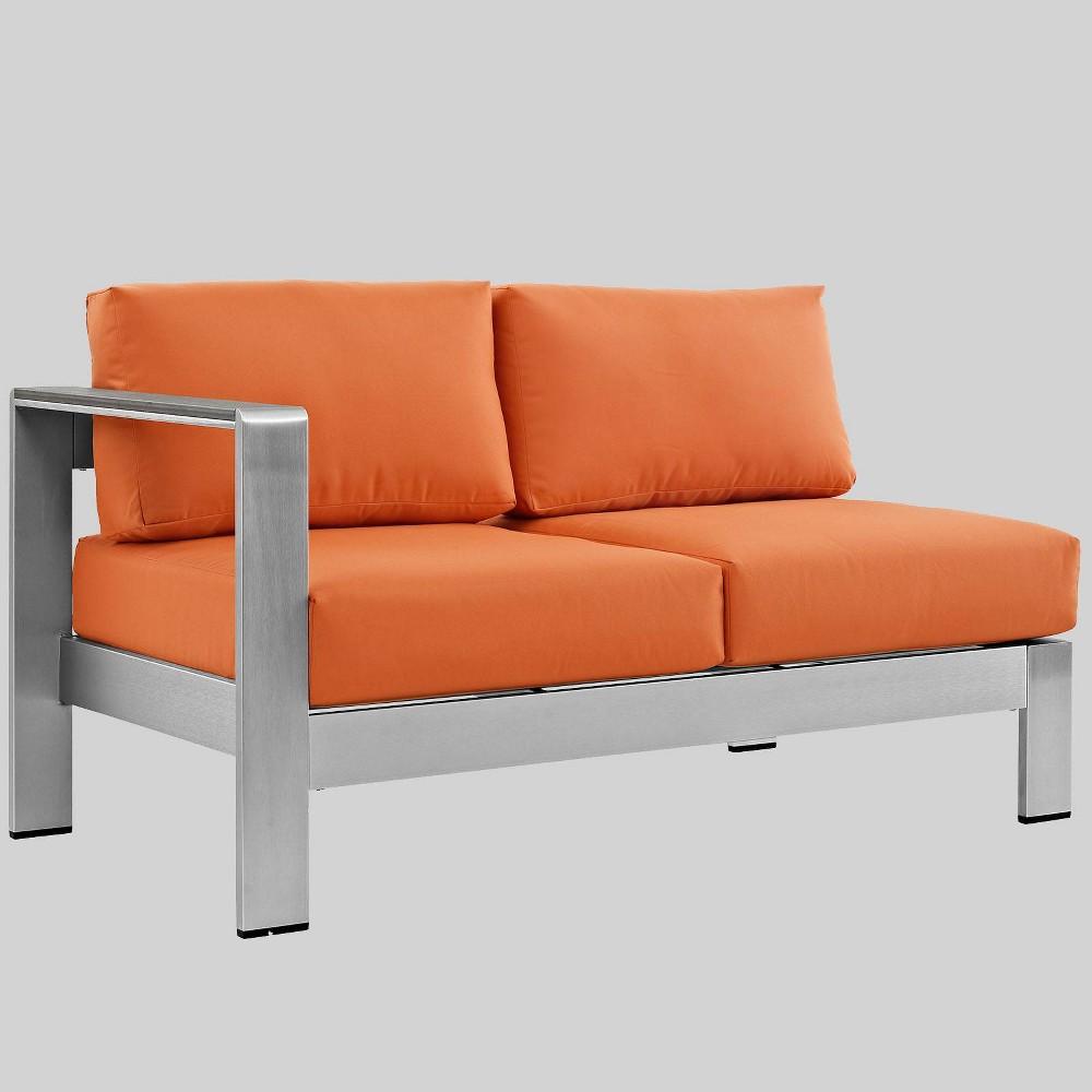 Shore Left-Arm Corner Sectional Outdoor Aluminum Loveseat - Orange - Modway
