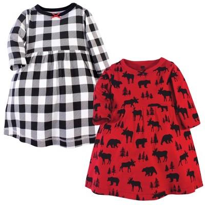 Hudson Baby Infant and Toddler Girl Cotton Long-Sleeve Dresses 2pk, Red Moose Bear