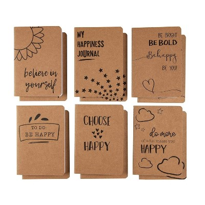 Paper Junkie 12-Pack Brown Lined Notebook 80-page A6 Pocket Journal - 6 Happiness Designs