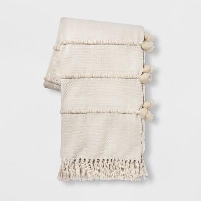 Wool Stripe Throw Blanket Cream - Opalhouse™