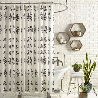 Prosperity Shower Curtain Black/Cream - Jungalow by Justina Blakeney