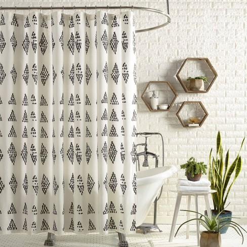 Prosperity Shower Curtain Black Cream, Black And Cream Shower Curtain