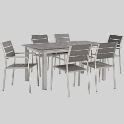Shore 7pc Aluminum Patio Dining Set Gray - Modway