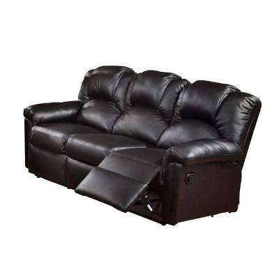 Highly Plush Hardwood Metal and Bonded Leather Recliner Sofa Black - Benzara