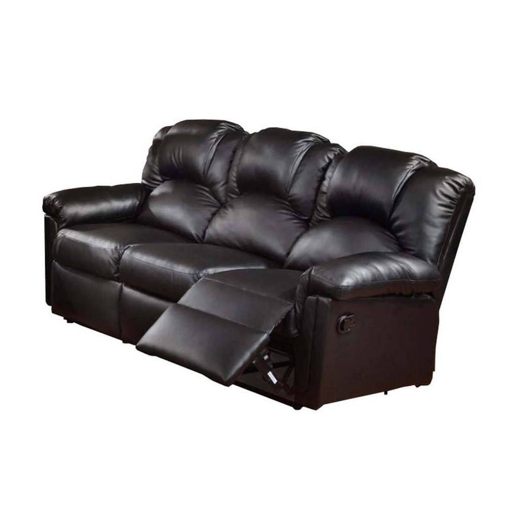 Image of Highly Plush Hardwood, Metal & Bonded Leather Recliner Sofa Black - Benzara