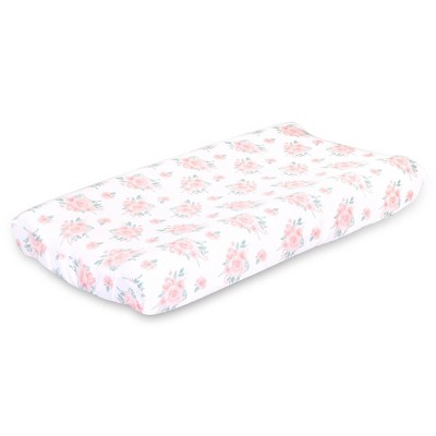 Farmhouse Floral Changing Pad Cover by The Peanutshell - Pink
