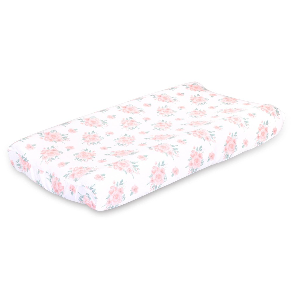 Image of Farmhouse Floral Changing Pad Cover by The Peanutshell - Pink