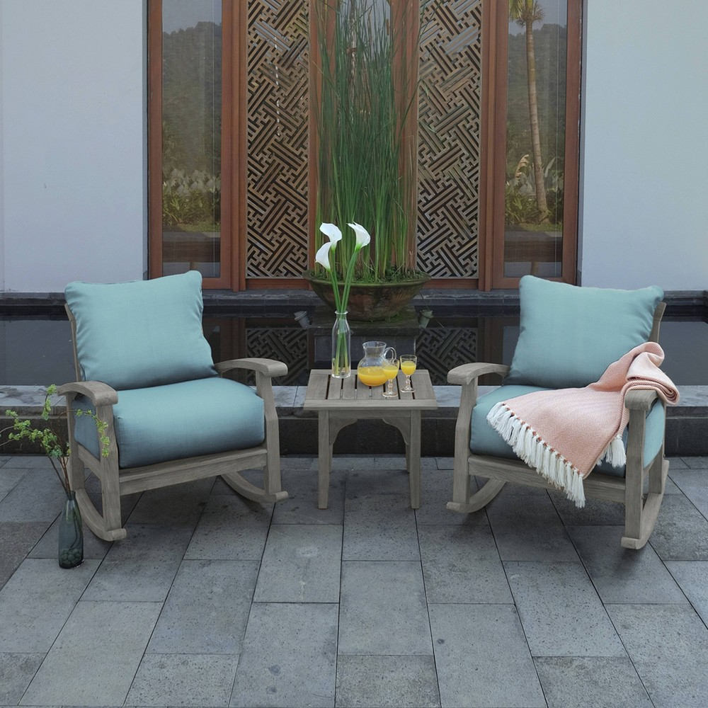 Image of 3pc Teak Auburn Patio Rocking Chair Chat Set with Cushions Teal - Cambridge Casual