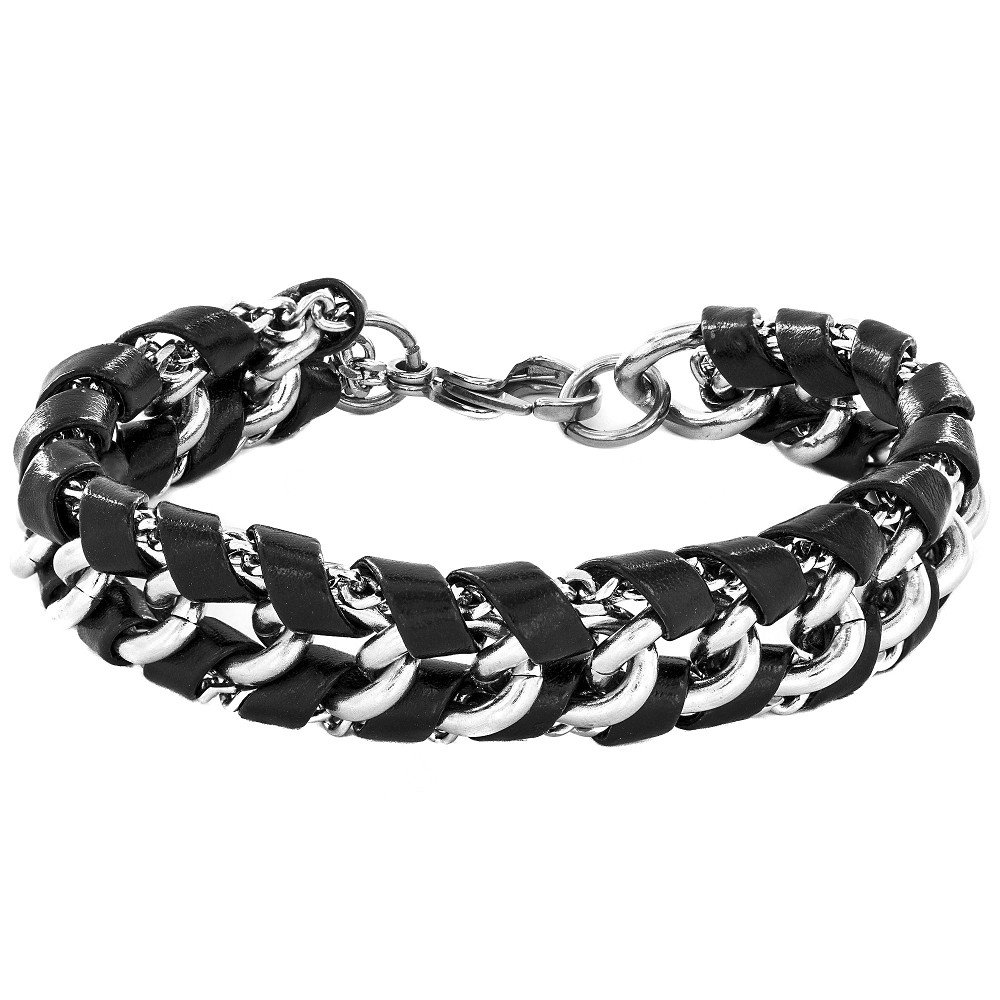 Image of Crucible Men's Stainless Steel and Black Leather Chain Link Bracelet, Size: Small, Black/Silver/Silver
