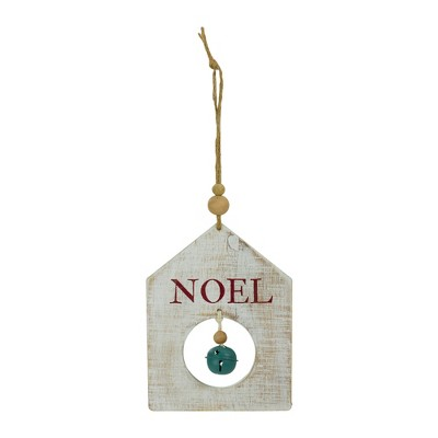 Northlight 8 Rustic Wooden White Noel With Green Bell Christmas Ornament Target
