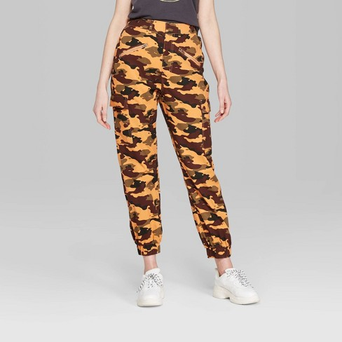 13ab611701dd04 Women's Camo Print High-Rise Cargo Pants - Wild Fable™ Orange L : Target