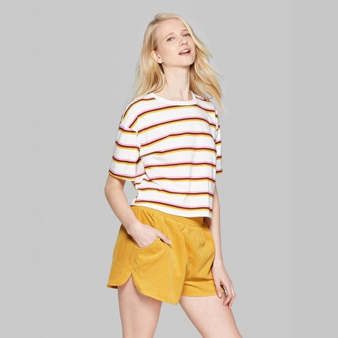 b3b9793c19 Women's Striped Short Sleeve Crewneck Oversized Boxy T-Shirt - Wild Fable™  White
