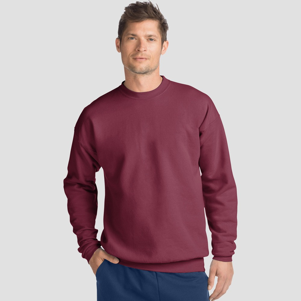 Hanes Men's EcoSmart Fleece Crew Neck Sweatshirt - Maroon (Red) L