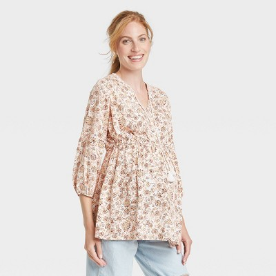 3/4 Sleeve Peasant Woven Maternity Blouse - Isabel Maternity by Ingrid & Isabel™ Light Yellow Floral