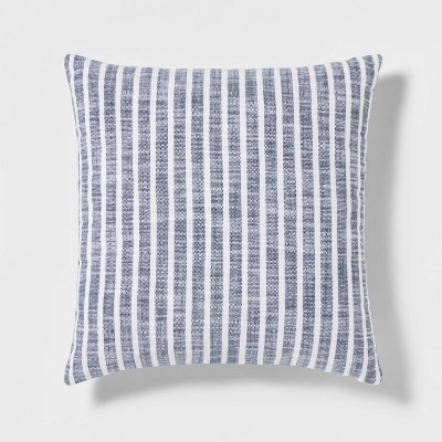 Woven Stripe Square Pillow Navy/White - Threshold™
