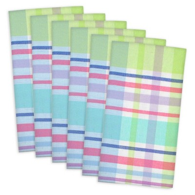 6pk Cotton Spring Plaid Napkins - Design Imports