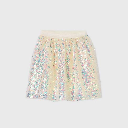 Girls' Sequin Skirt - Cat & Jack™ Cream - image 1 of 2
