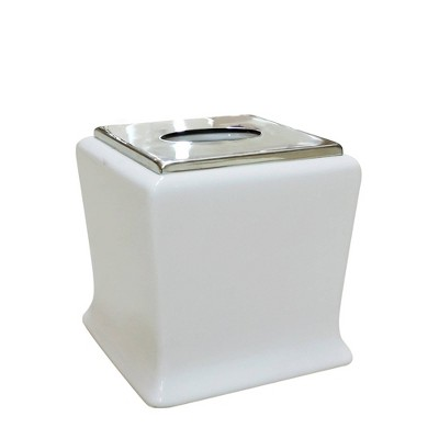 Mod Tissue Box Cover White/Chrome - Popular Bath